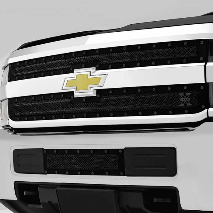 Chevrolet Silverado HD X-METAL Series - Studded Main Grille - ALL Black - 2 Pc Style