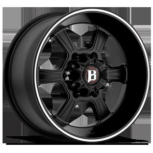 845 6 Flat Black Machined Stripe