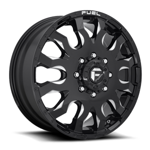 Blitz Dually Front - D673 8 Gloss Black & Milled