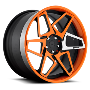 Game On - X80 5 Matte Black & Orange w/ Machined Spoke
