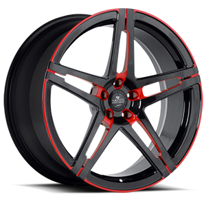 SV10-M 5 Matte Black with Red Windows and Red Pinstripe