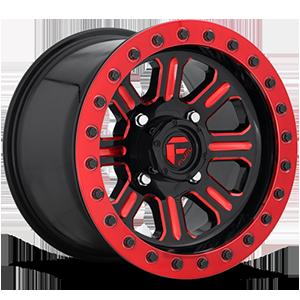 Hardline - D911 Beadlock (Lightweight Ring) 4 Gloss Black w/ Candy Red
