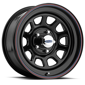 Series 342 D Window 5 Gloss Black with Red and Blue Stripe