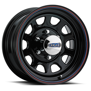 Series 342 D Window 6 Gloss Black with Red and Blue Stripe
