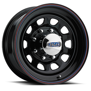 Series 342 D Window 8 Gloss Black with Red and Blue Stripe