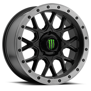 649 5 Satin Black with Anthracite Grey Beadlock-Style Lip and Green Monster M-Claw Cap