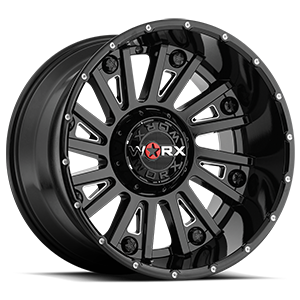 810 Sentry 6 Gloss Black with Milling and Clear Coat - 20x12