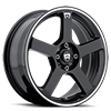 MR116 Gloss Black w/ Machined Flange 4 lug