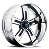 Royalty 5 Chrome with Blue Inserts 5 lug