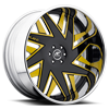 6 LUG FORZIANO BLACK AND YELLOW WITH CHROME LIP