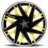 5 LUG FORZIANO BLACK AND YELLOW WITH CHROME LIP