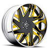 Forziano Black and Yellow with Chrome Lip 5 lug