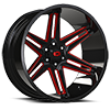 363 Razor Gloss Black Red Tint 6 lug