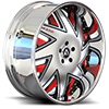 Forziano Satin, Silver and Red with Chrome Lip 5 lug