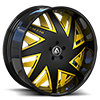 5 LUG FORZIANO BLACK AND YELLOW WITH BLACK LIP
