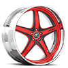 5 LUG VIVALO RED AND BLACK WITH CHROME LIP