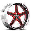 Vivalo Black and Red with Chrome Lip 5 lug