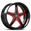Vivalo Black and Red with Black Lip 5 lug