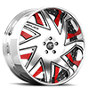 5 LUG FORZIANO SATIN AND RED WITH CHROME LIP