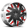 5 LUG FORZIANO BLACK, SATIN AND RED WITH CHROME LIP