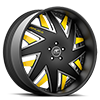 5 LUG FORZIANO BLACK, SATIN AND YELLOW WITH BLACK LIP