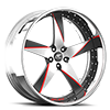 5 LUG MILANI 5 SATIN, BLACK AND RED WITH CHROME LIP