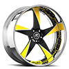 5 LUG MILANI 5 BLACK AND YELLOW WITH CHROME LIP