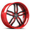 5 LUG PRIMO BLACK AND RED WITH CHROME LIP STYLE A