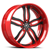 5 LUG PRIMO BLACK AND RED WITH CHROME LIP STYLE B