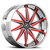 Vona Black and Red with Chrome Lip 5 lug