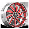 Vona Black, Satin and Red with Chrome Lip 5 lug