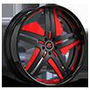 Tesla Black and Red with Black Lip Style B 5 lug
