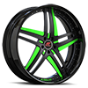 Tesla Black and Green with Black Lip 5 lug