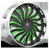 HNIC Black and Green with Chrome Lip 5 lug