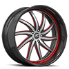 5 LUG ENTOURAGE SATIN, BLACK AND RED WITH CARBON LIP
