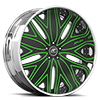 Mondo Black and Green with Chrome Lip 5 lug