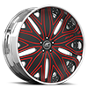 Mondo Black and Red with Chrome Lip 5 lug