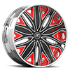 Mondo Black, White and Red with Chrome Lip 5 lug