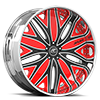 Mondo Black, Satin and Red with Chrome Lip 5 lug