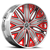 Mondo Silver, Red and Black with Chrome Lip 5 lug