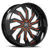 Trifecta Black and Orange 5 lug