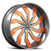 Trifecta Silver, White and Orange with Silver Lip 5 lug