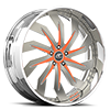 Trifecta Orange and Silver with Chrome Lip 5 lug