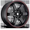 421 X Black with Red Stripe 5 lug