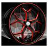 DA164 Black with Red Trim 5 lug