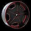 ALNEATO Black/Red Center, Black/Red Lip 5 lug