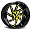 AZIONI Yellow/Black Center, Black Lip 6 lug