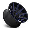 8 LUG CONTRA - D644 24X14   GLOSS BLACK W/ CANDY BLUE