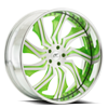Chopper Brushed Face w/ Green Accents and Chrome lip 5 lug