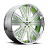 Draft - X88 Brushed Face w/ Green Accents and Chrome lip 5 lug